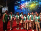 Liz at NEA D.C. with girl scouts to do pledge of allegiance